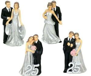 Silberhochzeit Tortenfigur 25 Jahre Brautpaar Hochzeitspaar Figur Tortendeko