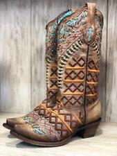 Corral Women's Distressed Light Brown & Multi Embroidery Snip Toe Boots C3284