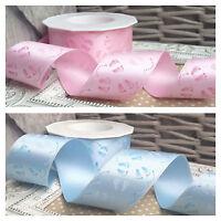 40mm Boy / Girl Baby Feet Satin Ribbon. Blue, Pink. Cake Baby Shower Christening