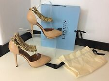 LANVIN NEW nude Court Point Shoes Leather Gold Chain Ankle Size 38.5 Uk 5.5 £695
