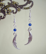 Slim Crescent Moon Face Goddess Blue Bead Dangly Earrings