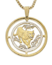 "Bengal Tiger Pendant & Necklace Russian Coin Hand Cut 7/8"" diammeter, ( # 673 )"