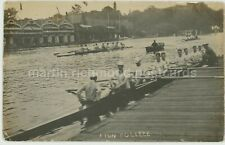 Eton College Rowing River Thames 1905 Real Photo Postcard, C075