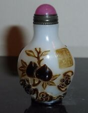 VINTAGE OVERLAY GLASS SEAL SNUFF BOTTLE