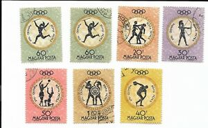17th Olympic Postage Stamps Canceled Hungary Unhinged MAGYAR POSTA