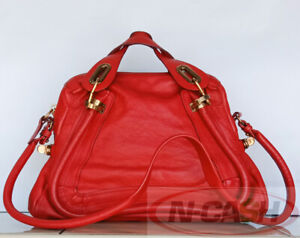 BIDSALEONLY! AUTHENTIC $1950 CHLOE Paraty Red Pebbled Leather Medium Satchel Bag