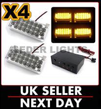 12v - 24v 4 x LED ámbar desglose intermitente Parrilla Luces Barra De Luz de recuperación del Reino Unido