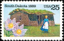 1989 25c South Dakota Statehood Centennial Pasque Flower Scott 2416 Mint F/VF NH