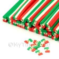 3x Handmade Mexican Flag Nail Art Canes (enc28)