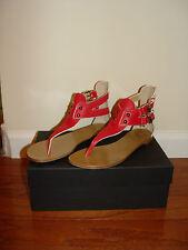 Giuseppe Zanotti Red Leather Buckle Flat Sandal Size : IT37.5 / US6.5M