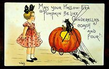 CINDERELLA'S JACK-O-LANTERN COACH Mice Footmen HALLOWEEN HBG Fantasy Postcard