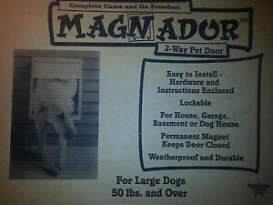 MAGNADOR TWO WAY PET DOOR (BRAND NEW) WHITE-SIZE LARGE