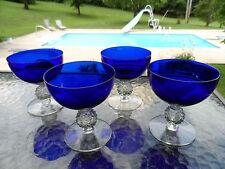 "ONE (1)RITZ BLUE GOLF BALL 4 "" SHERBET STEM  #7643 MORGANTOWN ELEGANT DEPRESSION"