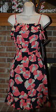 NWOT Juicy Couture Navy Blue Pink Peach Floral Ruffled Summer Dress SZ 2 XS S