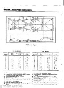 1955 Cadillac Series 62 60S  NOS Frame Dimensions Wheel Alignment Specifications