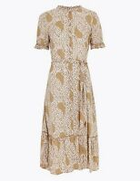 MARKS AND SPENCER PRINTED FRILL BELTED MIDI SHIRT DRESS SIZE 14 REGULAR BNWT