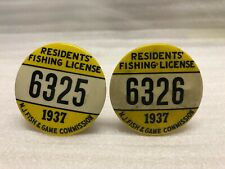 Vintage Consecutive Residents' 1937 New Jersey Fishing License Button Nj