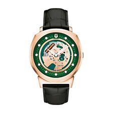 Bulova Alpha Men's 97A122 Automatic Skeleton Green-Rose Gold Dial 42mm Watch