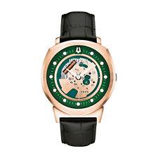 Bulova Alpha Men's 97A122 Automatic Skeleton Green-Rose Gold Dial 42mm Watch