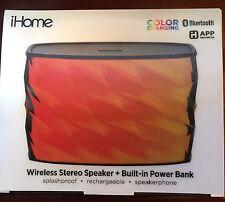 iHome New Bluetooth Wireless Stereo Speaker + Built - In Power Bank