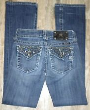 TAG SZ 25 WOMENS Metal Bling MISS ME # JP4656-2 Boot JEANS Actual 26X33