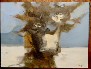 Texas Modernist Jerry Seagle Signed Acrylic Abstract Floral Painting 1970s