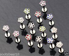 2 For 1 Flower Internally Threaded Labret Bar Studs Lip Monroe Tragus  7 Colours