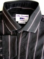 JOHN FRANCOMB TM LEWIN Shirt Mens 15 S Black - Stripes