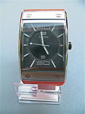 NEW NAUTICA MEN'S RECTANGLE STAINLESS STEEL WATCH ORANGE BAND RETAIL A21511 $215