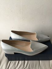 Cole Haan Dellora Skimmers In Silver Tumbled Leather Size 10 MSRP $150 W08850