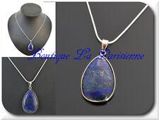 Kette+Anhänger Natur Edelstein Tropfen Halskette Lapis Lazuli Amulett Versilbert