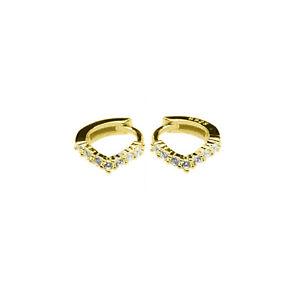 Sterling Silver 6mm Hoop Gold Plated Wishbone CZ Huggie Helix Lobe Earrings