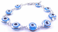 Light Blue Evil Eye Bracelet Kabbalah Hand Of Fatima Hamsa  Silver Charm Amulet