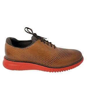 Cole Haan 2.Zerogrand Lazer Wingtip Oxford Men's Size 11.5 Brown Leather Red