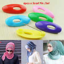 6PCS / Lot Multi Colors Plastic Scarf Pins Muslim Hijab Safety Pin AU
