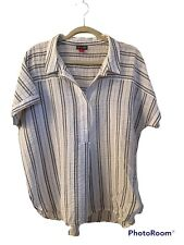 Vince Camuto black and white striped short sleeve top. Sz.XL