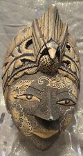 CARVED WOODEN DECORATIVE HANGING FACE MASK ~ HAND CRAFTED ~ INDIA ~ ART DECO