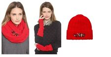 Juicy Couture Holiday Red Chucky Jewel Infinity Scarf+Hat+Gloves 100% Wool new