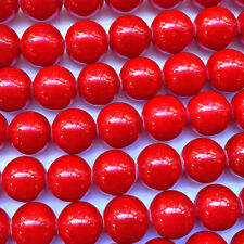 Dyed Red Coral 12mm Round Ball Semi Precious Stone Beads Q16 Beads per Pkg
