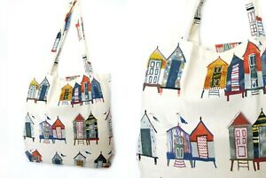 Shopping Beach Tote Bag 100% Cotton 2 Printed Designs Beach Huts or Puffins