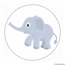 "60 Cute Baby Elephant Trunk Vinyl Envelope Seals Label Stickers 1.2"" Round."