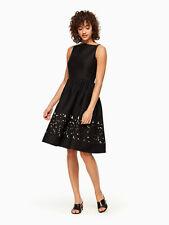 kate spade fit & flare dress lace panel bateau neck sleeveless black Sz 8 New