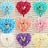 ZK_ Rose Wedding Favors Heart Shape Pillow Box Cushion Rhinestone Gift Ring Be