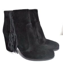 New Via Spiga Suede Black Women's Heels Fringe Ankle Boots Booties Size 6M
