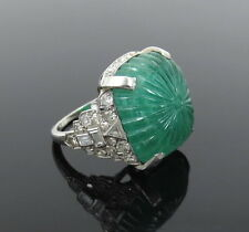 Antique 15ct Colombian Emerald & 2.0ct Diamond Platinum Ring
