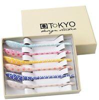 NEW BOXED TOKYO DESIGN STUDIO 6 PORCELAIN MULTI-COLOURED PATTERNED TEA SPOONS