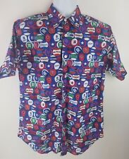Vintage 90s Tommy Hilfiger Jeans Baseball Logo Button Up S/S Shirt Size Small