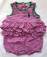 Ralph Lauren Polo Romper Girls Size 6 mos EUC Pink & White Stripe w/ Big Pony