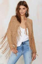 Women Cowgirl Jacket Native American Style Suede Leather Fringe Western Coat New
