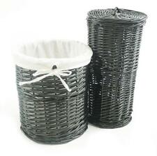 Brown or White Oval Wicker Laundry Basket With Lid and Removable Cotton Lining Black Bin One Size